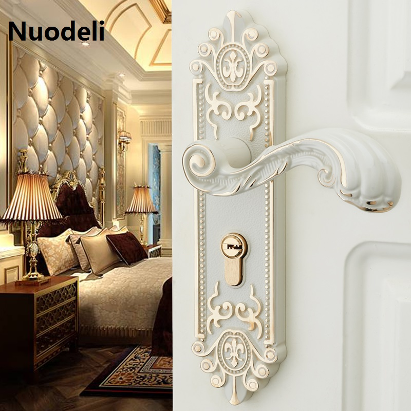 Nuodeli bedroom door handle Security Entry Split Silent Lock-Core Mortice Handle door Lock Indoor Lockset vintage door furniture