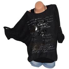 Plus Size 5XL Blouse Women Multicolor Off Shoulder Long Sleeve Casual Heart print Curved Hem Tunic