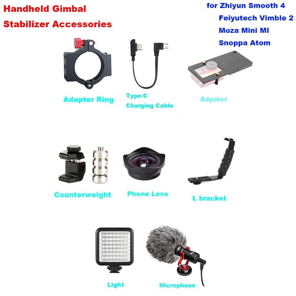 Zhiyun lisse 4 accessoires de cardan avec Microphone Gorpo adaptateur L support type-c câble de charge contrepoids téléphone lentille lumière