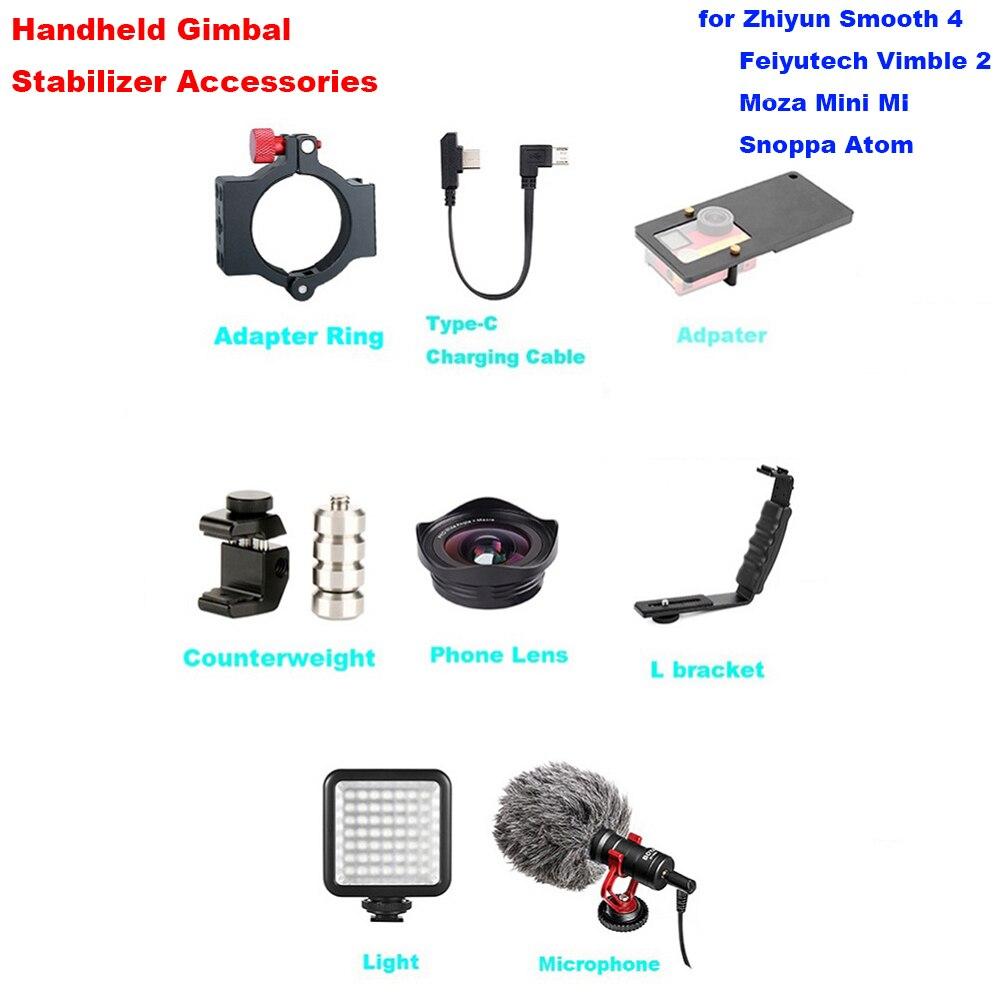 Zhiyun Glad 4 Gimbal Accessoires met Microfoon Gorpo Adapter L Beugel Type C Oplaadkabel Contragewicht Telefoon Lens Licht-in Gimbal accessoires van Consumentenelektronica op  Groep 1