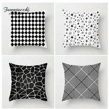 Fuwatacchi White Black Geometric Cushion Cover Dot Diamond Star Stripe Pillow Case Home Bedroom Sofa Decor 45*45 cm