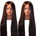 100% высокотемпературный волоконный длинный манекен для волос Парикмахерская учебная голова модель с Зажимная стойка практический салон ма...