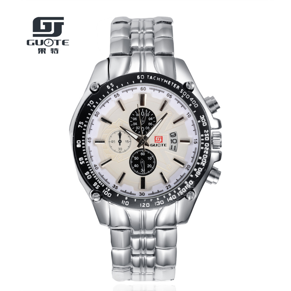 e78c765daefb Guote moda calidad superior Calendarios casual reloj de cuarzo hombres  marca de lujo completa de acero inoxidable relojes Relogio masculino reloj  caliente