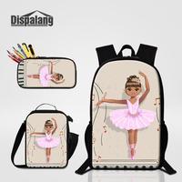 3 PCS Bags Set Cute Ballet Yoga Designer School Bag Girls Daily Food Lunch Sack Bagpack Women Fashion Bookbag Student Pencil Box