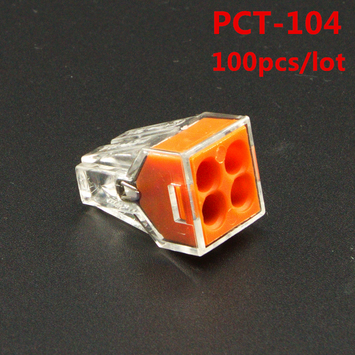 100Pcs/lot PCT-104 PCT104 WAGO 773-104 Push wire wiring connector For Junction box 4 pin conductor terminal block wire connector 104