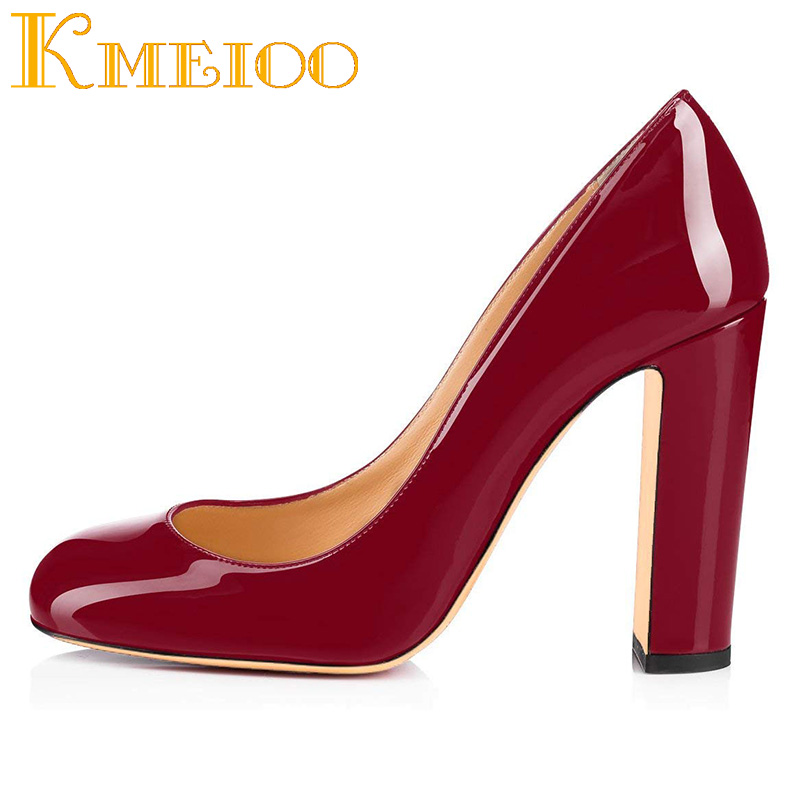 Kmeioo Womens High Block Heel Courts Shoes Round Toe Pumps Slip on Basic Shoes Closed Toe Sandals Party simple daily style handmade womens high heel platform pumps patent leather round toe slip on dating party fashion shoes x1808