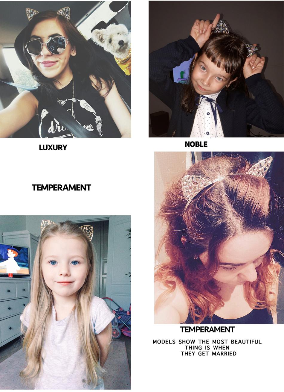 Bezel AWAYTR Novelty Kids Cat Ears Headband Bezel With EarCrystal Hairband Festival Hair Girls Crown Rhinestone Headdress 5