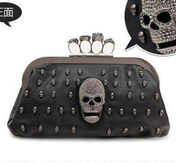 Cheap Products     punk female skeleton skull ring diamond embellished clutch Evening Chain Bag FreeShipping