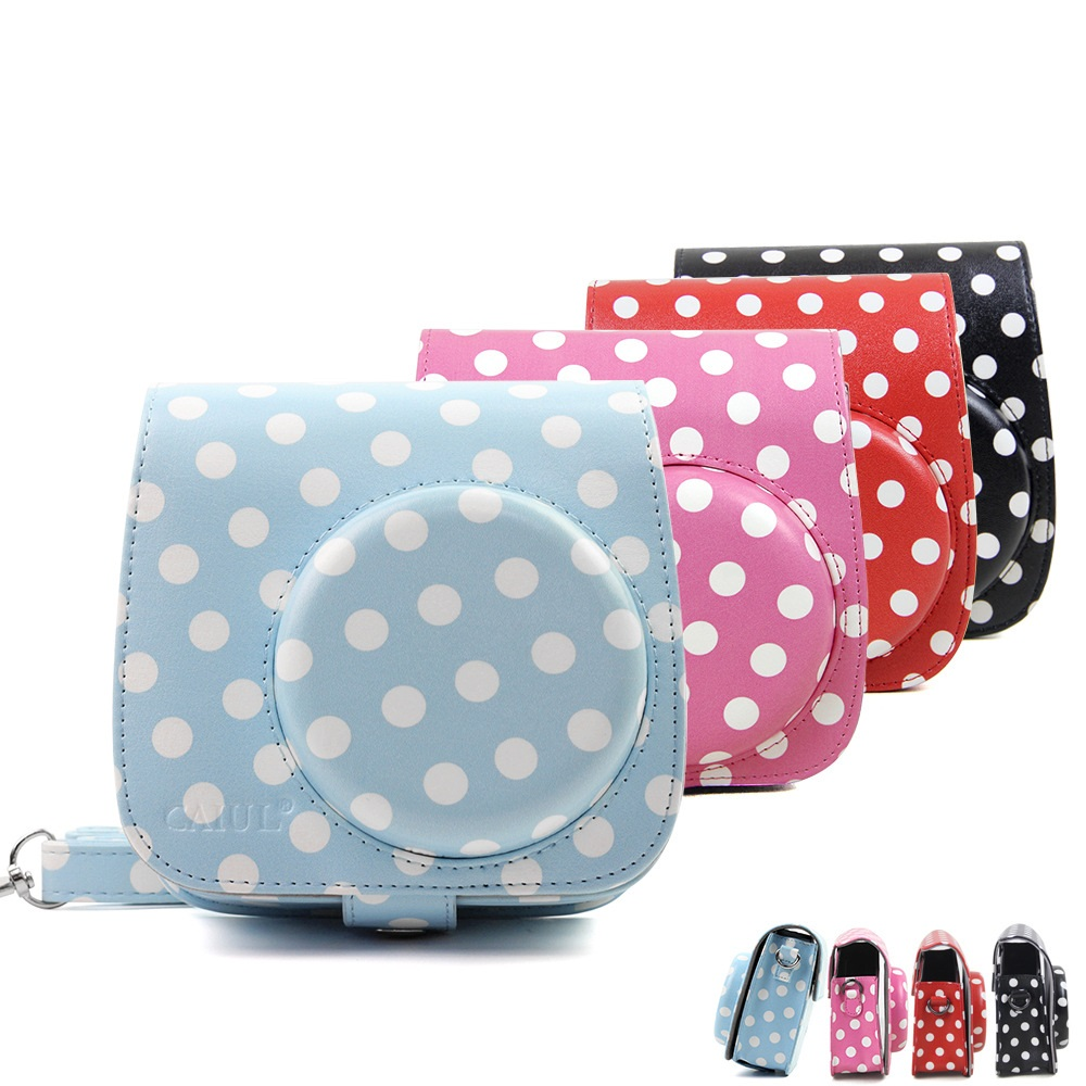 Cute Pu Leather Polka Dot Camera Case Bag For Polaroid Fujifilm Small Strap Tali Kamera Instax Mirorrless Brown Mini 8 8s 9 W Shoulder Cover In Video Bags From Consumer