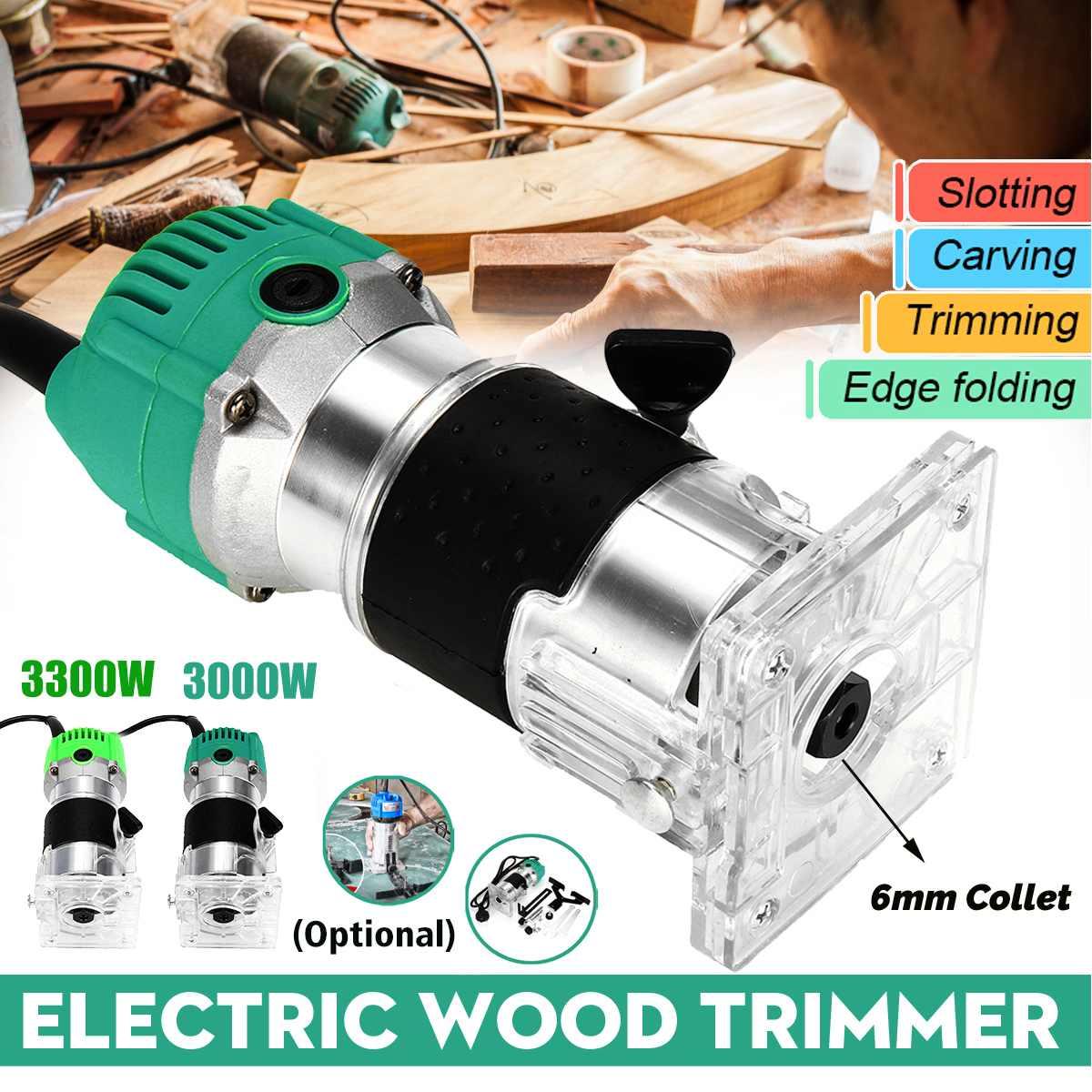 3000 W/3300 W bois électrique tondeuse à main 30000rpm travail du bois fraisage gravure rainurage coupe main sculpture Machine bois routeur - 6