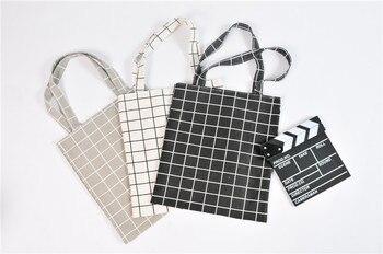 Canvas Tote Bag Casual Beach HandBag Eco Shopping Bag Daily Use Foldable Canvas Shoulder Bag Plaid Canvas Tote for Women Female