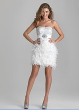 free shipping 2015 New bolero Sequin Embellished Bodice Short Feather beading crystal Party Gown white custom size Prom Dresses faux feather embellished solid tee