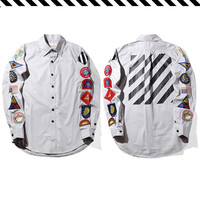 Striped arm embroidery badge Men Shirt Off white Long Sleeve Slim Fit Dress Shirts Curved hem Shirts Men Business Shirt C