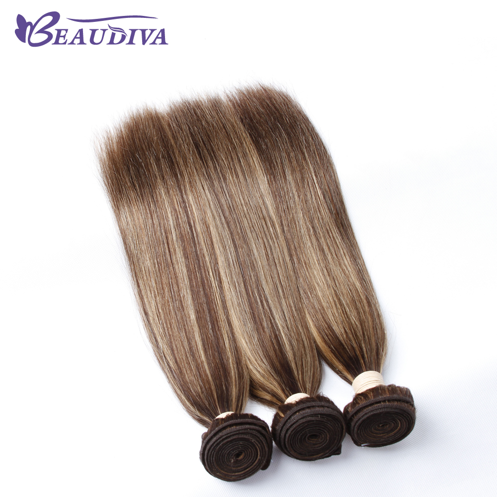 BEAUDIVA Hair Brazilian Straight Hair Bundles P4-27 Color Brazilian Hair Weave Bundles 3PCS Remy Hum