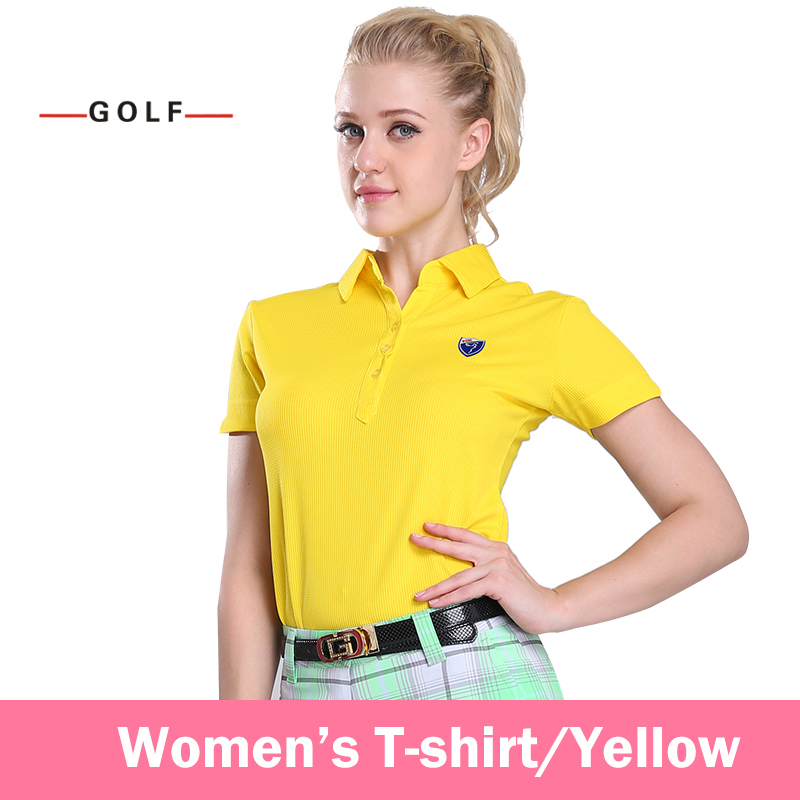 Ladies Golf Clothing Sports Shirts Short Sleeve T-shirt Genuine(Yellow)
