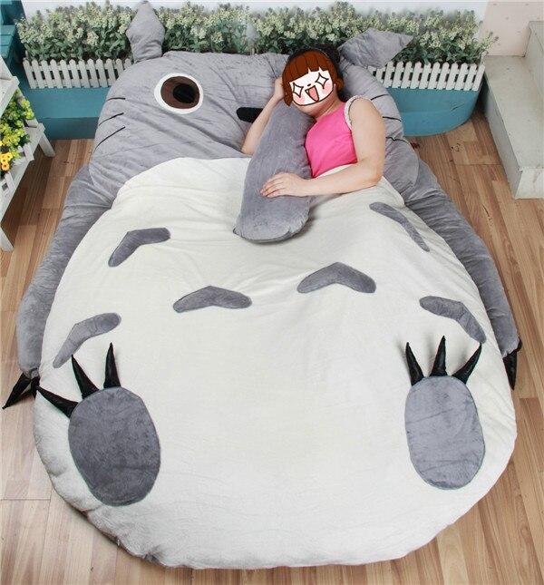 Grande taille dessin animé grand Totoro lit coussin Tatami mémoire mousse matelas housse en peluche cadeau Totoro Double lit colchones