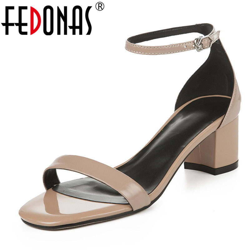 FEDONAS Brand Design High Quality Women Pumps Summer Prom Party Casual Round Toe Genuine Leather Sandals