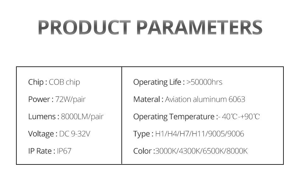 Aceersun H4 LED H7 Car Headlight H1 H8 H9 9005 9006 8000lm 4300K 6500K MINI 72W Auto Hi Lo Beam 12V And 5V USB Small stage light (19)