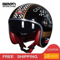 BEON helmet vintage scooter helmet open face helmet motocross vintage casque Moto Casque Casco Capacete Retro Helmet