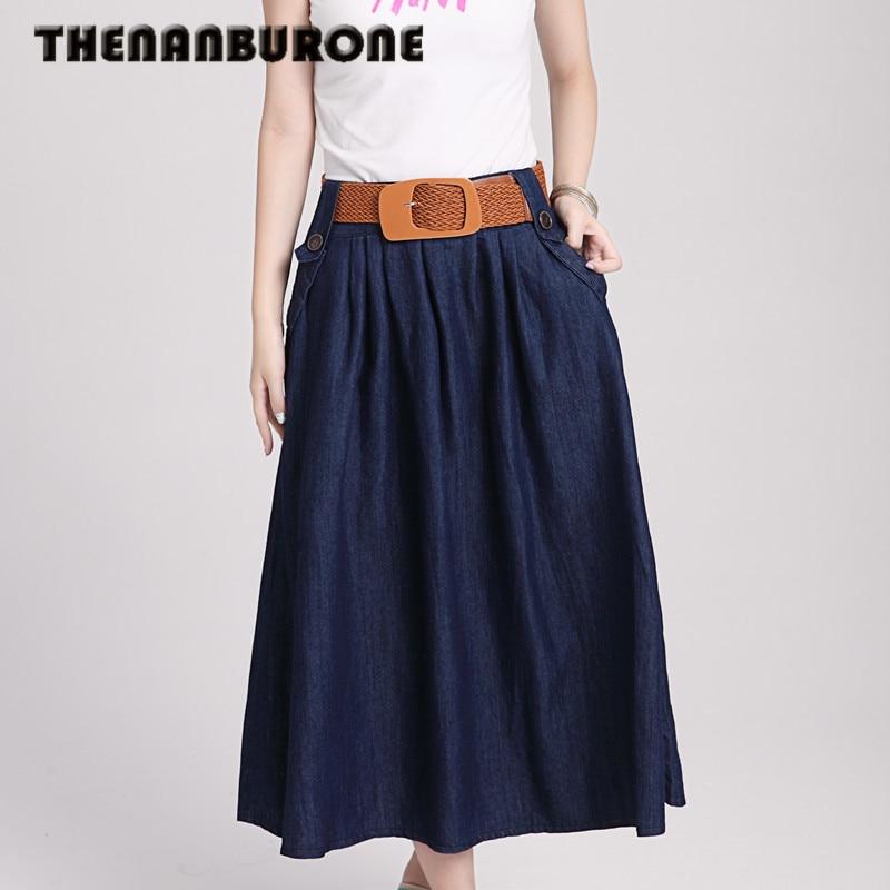 THENANBURONE 2017 New Womens Slim Denim Skirt Winter Casual Tutu Long Skirt Fashion Mini Jeans Skirts Saia Longa Free Shipping