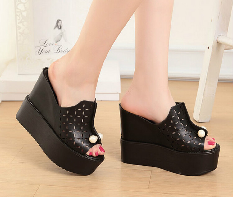 2016 summer new fish head sandals and slippers female 12cm thick crust muffin slope with beaded high-heeled sandals women 2017 summer new slope with sandals female fish head high heeled waterproof platform thick bottom shoes cll 3259