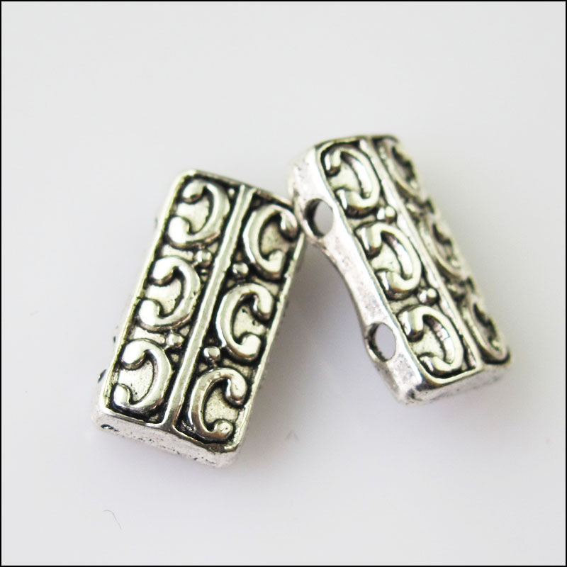 New 8pcs Tibetan Silver Tone 2-2holes Spacer Beads Bars Charms Connectors 12x15mm Beads & Jewelry Making