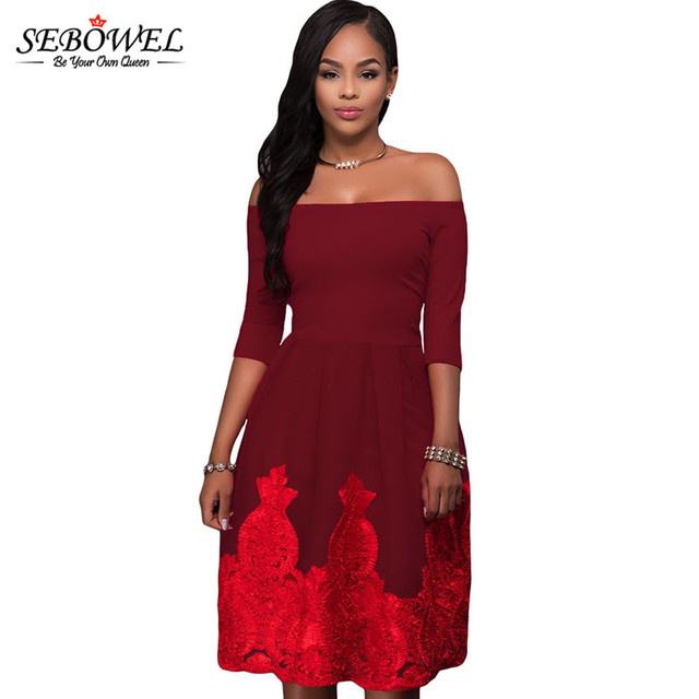 SEBOWEL 2018 Lacy Embroidery Tulle Salsh Neck Tunic Party Dress Short Off  Shoulder Pleated Backless Midi Skater Dress 58ebbeb93654