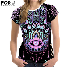 FORUDESIGNS Hamsa Hand Print T Shirt for Women Girls Hhamsa Evil Eye Summer Short Sleeve Female Cool t-shirt Casual футболка