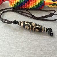 チベット本物dziビーズ六黒と白龍、プジャ目ビーズ、手織りロープネックレス、ペンダントネックレ