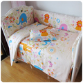 Promotion! 6/7PCS Mickey Mouse Baby Bed Set,Duvet Cover,Both Safety and Healthy Kids Accessory, 120*60/120*70cm