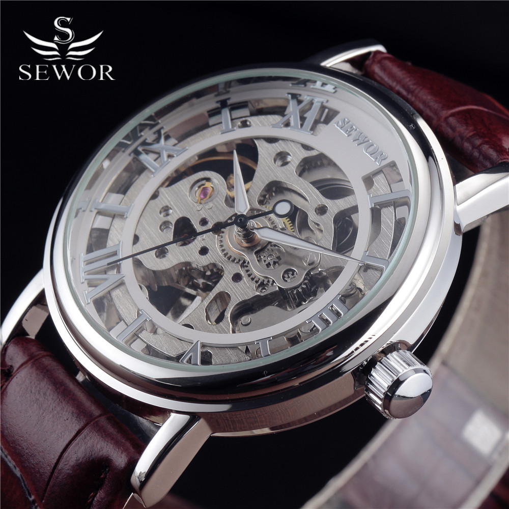 Top Luxury Brand SEWOR Skeleton Watches Men Steampunk Casual Mechanical Hand Wind Leather Strap Male Gift Military Wristwatch  1pcs men s luxury mechanical wristwatch skeleton watches hand wind up leather strap free shipping wholesale relogio masculino j5