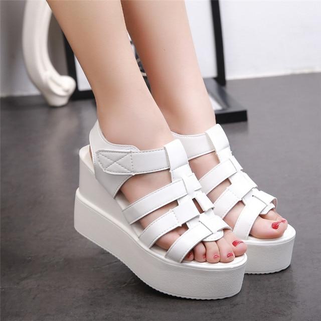f28ca332 Estilo del verano 2016 plataforma sandalias mujer zapatos casuales zapatos  de punta abierta sandalias de plataforma