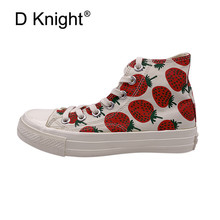 цены 2019 Spring Summer Preppy Women Sneakers Lace Up INS Hot Girl Cute Vulcanized Shoes Strawberry Print High Top Canvas Shoes Women