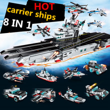 643Pcs NAVY Military Destroyer Aircraft Carrier Weapon Warship Shipboard Aircraft Building Blocks Educational Toys for Children цена 2017