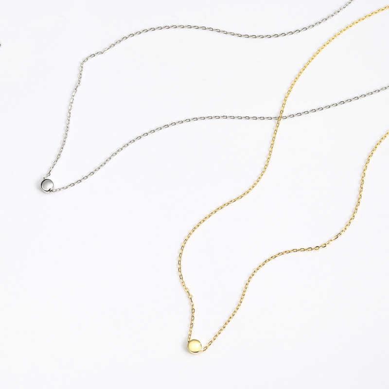 INZATT מינימליסטי גיאומטרי עגול חרוזים תליון שרשרת אמיתי 925 סטרלינג כסף זהב צבע תכשיטי יוקרה לנשים אביזרים
