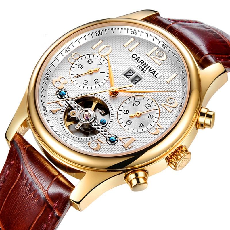 Carnaval Tourbillon Automatic Watch Mannen Mechanische Horloges Mens Gold Top Merk Luxe Horloge Leer Klok montre homme-in Mechanische Horloges van Horloges op  Groep 1