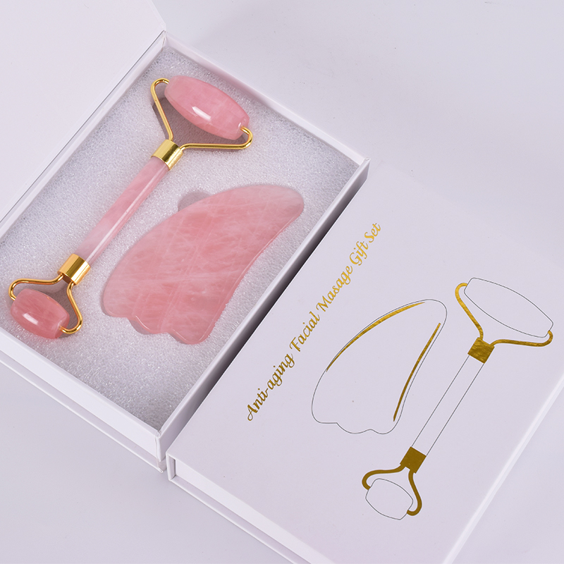 Jade Roller Acupuncture Scraping Tool Set Natural Rose Quartz Face Massage Slimming Anti Wrinkle Cellulite Gua Sha Gift BoxJade Roller Acupuncture Scraping Tool Set Natural Rose Quartz Face Massage Slimming Anti Wrinkle Cellulite Gua Sha Gift Box