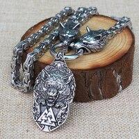 Viking мужское ожерелье из нержавеющей стали Викинг-волк голова с скандинавским Fenrir wolf mjolnir норвежский Кулон талисман Этнические украшения