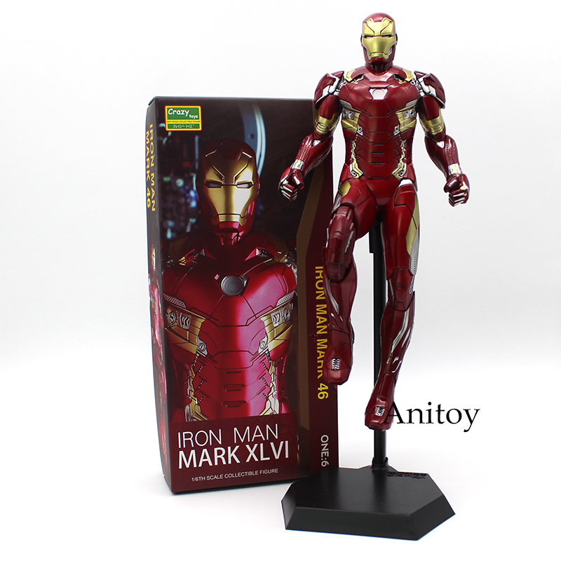 Crazy Toys Iron Man MARK XLVI MK 46 1/6 Scale PVC Painted Figure Collectible Model Toy 32.5cm 1 6 scale 30cm the avengers captain america civil war iron man mark xlv mk 45 resin starue action figure collectible model toy