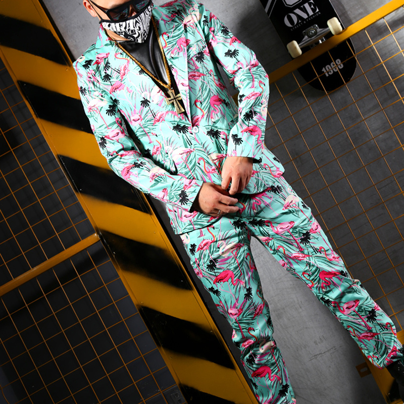 Dg Mode Long flamingo Costume Flamingo S Hommes Stade Trousers Discothèque Pantalon Nouveau La Print Dj De Chanteur Taille Vêtements Coat Grain 5xl Formelle Robe Costumes flamingo Suit Plus CC8Yqw6