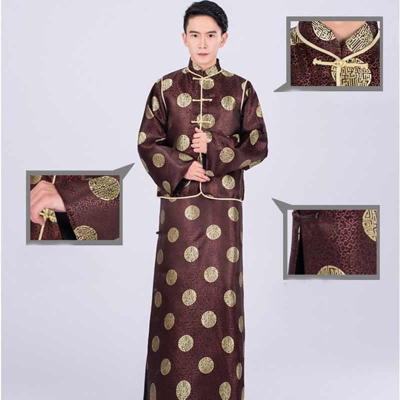 Традиционная китайская одежда для мужчин мужское пальто Верхняя одежда Восточный зимний Тренч Мужская одежда Тренч 2018 TA672