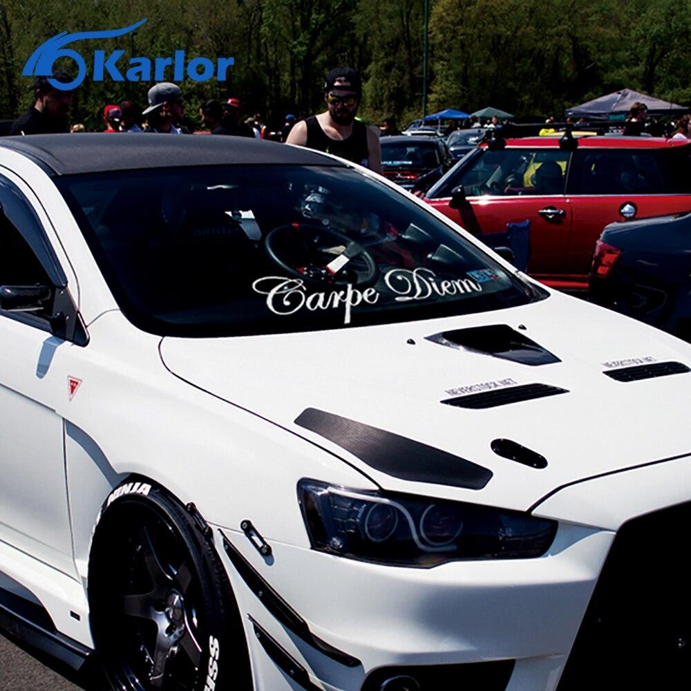 Car sticker maker in the philippines - Fashion Carpe Diam Quality Vinyl White Reflective Car Auto Decal Front Rear Window Windshield Body Sticker