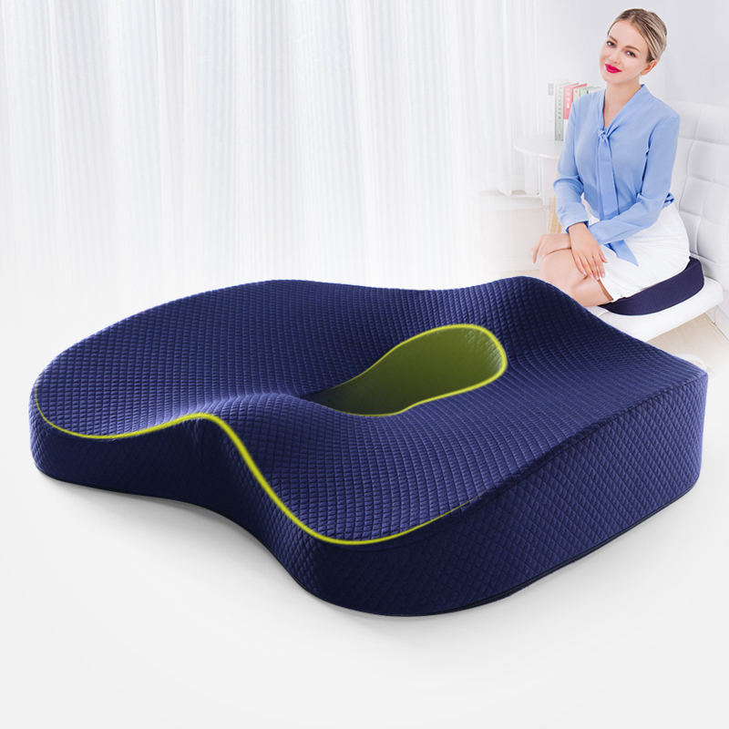 Non-Slip Memory Foam Seat Cushion for Car Back Support Sciatica Tailbone Pain Relief Pillow Wheelchair Office Chair Cushion
