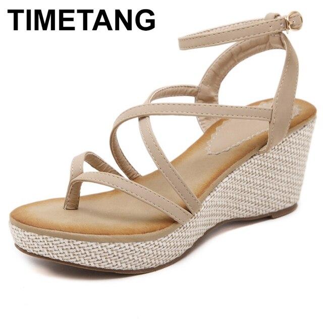 3eef15ee5f7bfd TIMETANGWomen Bohemia Gladiator Sandals Ring Toe Thong Flip Flops Strappy  Cross Strap Bandage Comfort Shoes Platform Wedge Heels