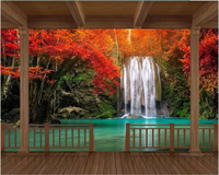 HD Wooden Frame Red Maple Leaf Waterfall Photo Wallpaper Customize Any Size Large Fresco Wallpaper Papel