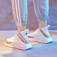 Dumoo Sneakers Shoes Women Mixed Color Breathable Casual White Shoes Heel 4cm Platform Lady Shoes Zapatillas Mujer Trainers