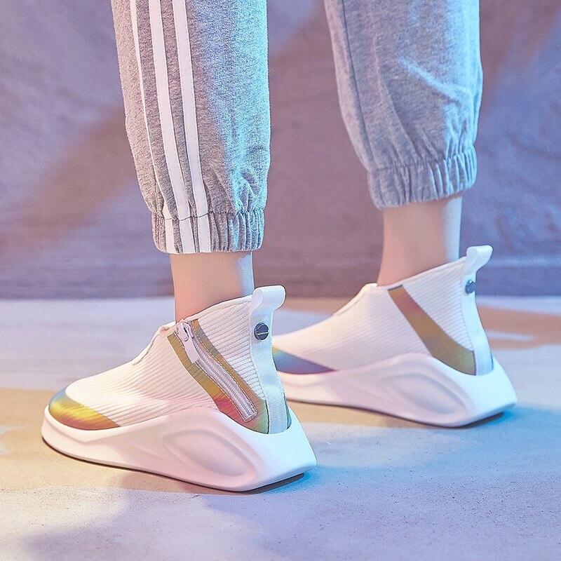 Dumoo fille baskets chaussures femmes couleur mixte respirant décontracté blanc chaussures talon 4 cm plate-forme dame chaussures Zapatillas Mujer formateurs