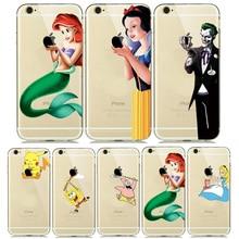 Funda de silicona hermosa princesa nieve blanca Cenicienta sirena para el iPhone 8 7 Plus 6 6 s 5S SE transparente funda de payaso Joker