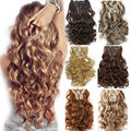 24 inches Full Head 8pcs 18clips Clip in on Hair Extensions Real thick synthetic Hair Extension Curly/Wavy Hair piece