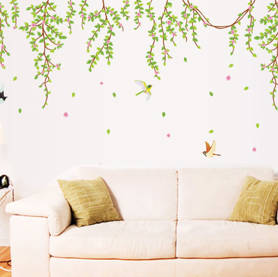 spring willow vines wall stickers home living room cheap ...